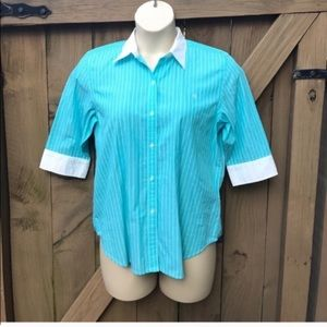 Ralph Lauren blue striped button down size L